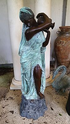 "Classical Cast Bronze Sculpture Fountain Rebecca at the Well  Lady with Urn 56""H 8"
