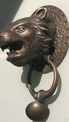 LION TIGER head old heavy front Door Knocker SOLID BRASS vintage antique style 9