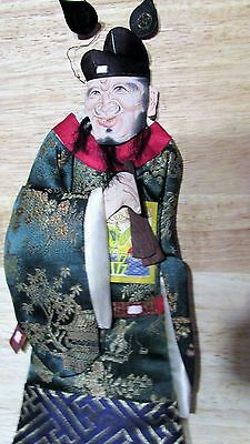 Vintage Chinese Figure Tsao Kuo Chiu Immortals Padded Silk Original Doll Stand