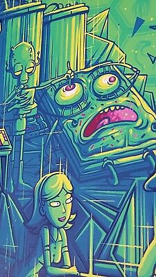 "Rick and Morty 18x24 Dan Mumford /""Two Parts Plutonic Quarks/"" Bottleneck NYCC"