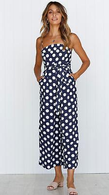 Plus Size Boho Womens Spot Holiday Long Playsuits Dress Trousers Jumpsuit 6-16
