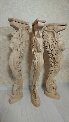 """38"""" Wooden stairs Baluster Newel, oak carved  gryphon statue, decorative element 10"""