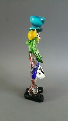 Vintage 1970's Murano Glass Clown Playing Guitar Green Bow Blue Hat 26cm High 2
