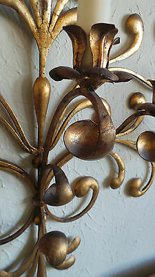 Antique Original Gilded Gold & Metal  Wall Sconce Candle Holders 7