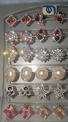 Job lot 18 Pairs Mixed Design Sparkly Diamante stud Earrings NEW Wholesale lot 1 4