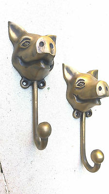 "4 heavy PIG HOOK WALL MOUNTED COAT old style BAG ANIMAL 6"" HANGER B 3"