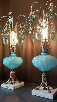 Antique Mid Century MOD Aqua/Ocean Blue Crystal Pendant Fountain Lamps, Pair 4