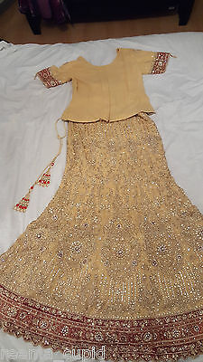 New Womens Cream Gold Maroon Wedding Dress Indian Pakistani Asian Small 4