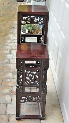Antique Chinese Rosewood Handcarved Pierced Dragon Step Tansu Plant Stand #2 2