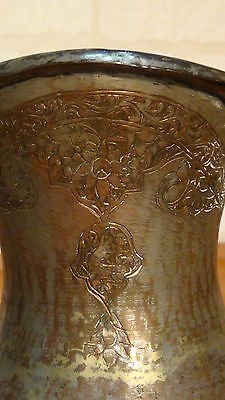 Antique 18C Islamic Persian Tinned Engraived Copper Tray And Ewer Hinting Scene