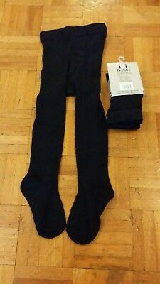 2 Pairs Girls Cotton Rich School Tights Navy Ages 2 - 6 yrs New (121Navy) 2