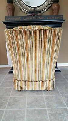 Vintage Gold Striped Velvet Fabric Tufted Arm Chair - VGC 4