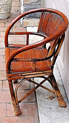 ANTIQUE 19c CHINESE BAMBOO RATTAN CHILD ARM CHAIR 4