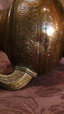 Antique 18C Islamic Copper Punjab Water Pitcher,jug Hand Engraved Islamic