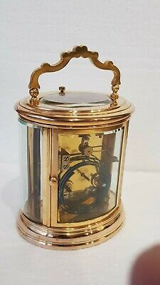 Large Oval Case Ormolu Repeat Strike 4 Glass Carriage Clock 7
