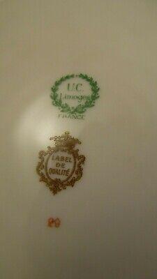 Plat rond creux en porcelaine de Limoges UC blanc et or dorure 4