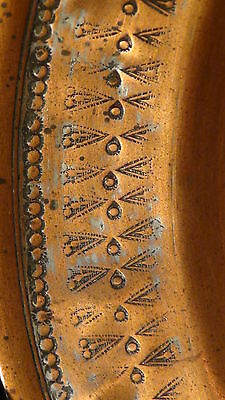 Antique 18C Islamic Arabic Copper  Ornamental Decorated Plate 7