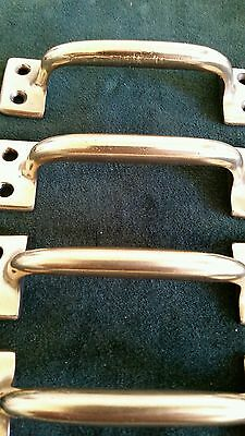 4 matching antique heavy cast brass handles or pulls restored 3