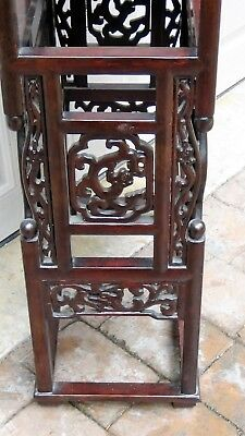 Antique Chinese Rosewood Handcarved Pierced Dragon Step Tansu Plant Stand #2 9