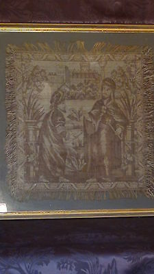 Antique18C  Islamic Persian Hand Woven Tapestry With A Mosque On Distance,framed 2