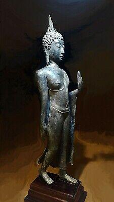 Antique Bronze Sukhothai Walking Buddha, Temple Relic. 19/20Th C. 3