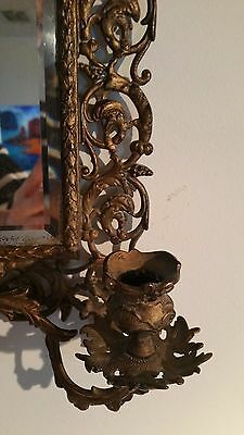 Antique France Style Gold Gilt wall Mirror with 2 Candle Sconces 5