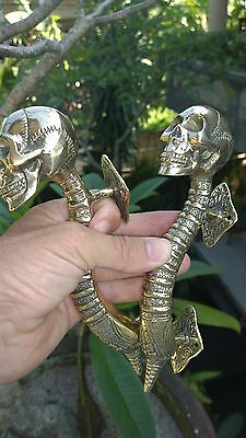 "2 small SKULL handle DOOR PULL spine BRASS old vintage style Polished 8 "" B 10"