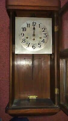Antique Wood wall clock, British rail 5
