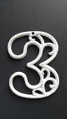Vintage Mid-Century House Numbers 3 & 5 White Paint Swirl Design Cast Iron 3