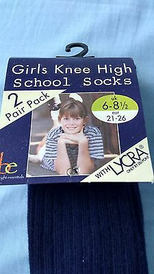 2 packs of girls boys navy 2 pack knee school socks BNIP size 6-8.5 euro 21 -26 2
