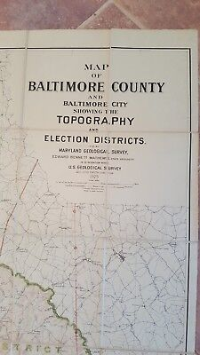 LARGE MARYLAND MAP - BALTIMORE COUNTY Topography & Election Districts - 1925 4
