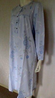 Thieme Damen Nachthemd langer Arm Knopfleiste Baumwolle Blau Gr.52//54 NEU i