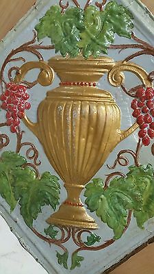 "24"" x 24"" Antique Ceiling Embossed Tin Tile with grapes and urn  RARE. (#1)"