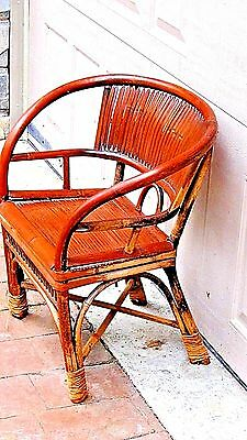 ANTIQUE 19c CHINESE BAMBOO RATTAN CHILD ARM CHAIR 2