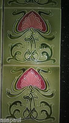 Antique Art Nouveau fireplace tiles (x10) - green with pink flower design. 5
