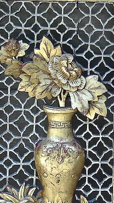 ANTIQUE 19c CHINESE LARGE ROSEWOOD CARVED PIERCED  PANEL PLAQUE VASE W/ FLOWERS 5