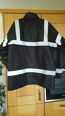 KAPTON Men's HiViz High Visibility Safety Security Coat Black XL RRP £45 2