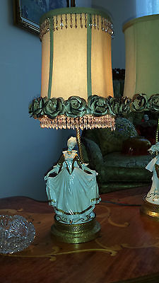 Antique Pair French Provincial Figurine Boudoir Lamps Light Fixtures Chandeliers 8