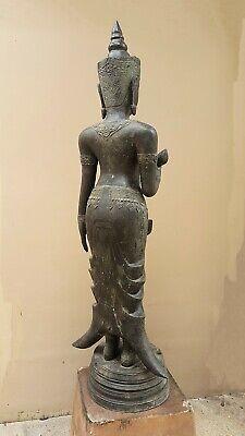 ANTIQUE BRONZE STATUE OF A FEMALE DEVATA, AYUTTHAYA. KHMER INFLUENCE. 19/20th C. 4