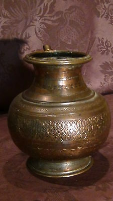 Antique 18C Islamic Copper Punjab Water Pitcher,jug Hand Engraved Islamic 4