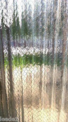 Industrial Heavy Wavy Rippled Glass 29 x 51 Wire Inside Architectural Salvage 2
