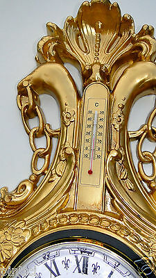 Wall Clock Nostalgia with Thermometer Gold 38x65 Vintage Art Nouveau Antique 2