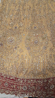 New Womens Cream Gold Maroon Wedding Dress Indian Pakistani Asian Small 5