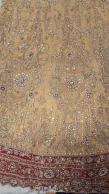New Womens Cream Gold Maroon Wedding Dress Indian Pakistani Asian Small 5