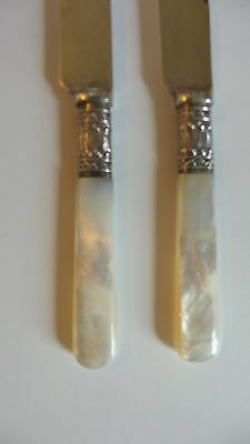 "LOVELY PAIR ANTIQUE SILVER PLATE 7"" DESSERT KNIVES with MOTHER-OF-PEARL HANDLES"