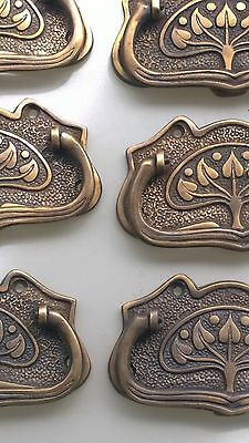 6 large DECO cabinet handles solid brass furniture antiques age old style 11cmB 4