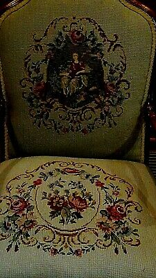 Set Of 2  Antique 1920 Upholstered Armchair And Settee Depicts Of Court Scene 4