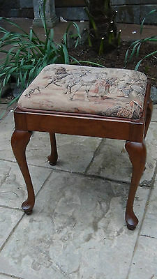 Antique French Ladies Dressing ,sawing Stool Tapestry Needlepointcabriole Legs 8