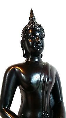 MASIV 23 cm Thai Buddha Figur Feng Shui Meditation Resin Stein weiß grau