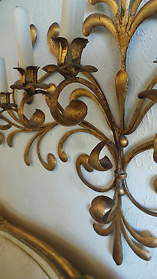 Antique Original Gilded Gold & Metal  Wall Sconce Candle Holders 4